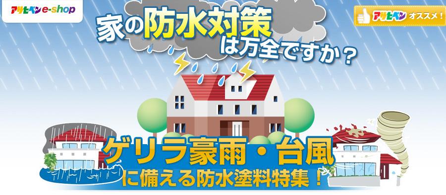 家の防水対策は万全ですか? ゲリラ豪雨・台風に備える防水塗料特集!